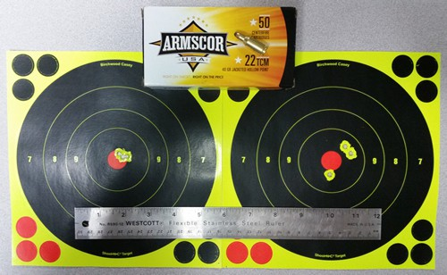 Rock Island Armory 1911 with Armscor 22 TCM Ammunition - 7 and 20 Yards
