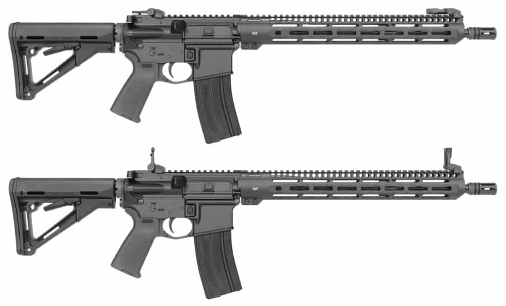 Midwest Industries Backup Iron Sights on AR-15 Rifle